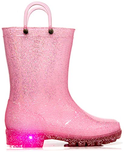 MOFEVER Girls Kids Toddler Rain Boots Light up Waterproof Shoes Glitter Lightweight Cute Lovely Funny Print with Easy-On Handles (Size 2,Pink) -