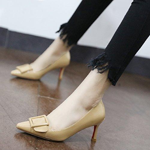 Schuhe Farbe Qiqi Pumps Beige mit wilde mit Frauen zu Schuhe Leder Xue Schuhe binden Einzel 34 hohen Frauen Absätzen bemalte fein 1XqEwn