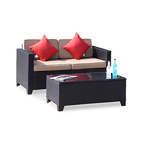 Wilcum Patio Loveseat Wicker Rattan Outdoor Loveseat Furniture Outdoor Bench Modern Indoor Outdoor Sofa Patio Furniture Sets Cushioned Chair, Black Rattan with Khaki Cushions