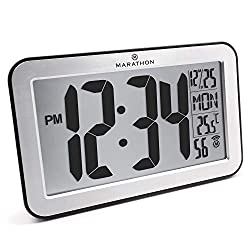 Marathon CL030033SV Commercial Grade Panoramic Atomic Wall Clock with Table Stand - Brushed Silver - Batteries Included