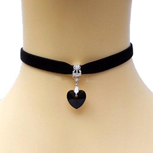 Arpoador 1x Lady Girls velluto girocollo, retro a mano amore cuore pendente di cristallo (nero)