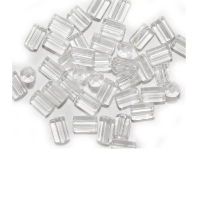 Clear Crystal Tube Czech Pressed Glass - Crystal Tube Beads