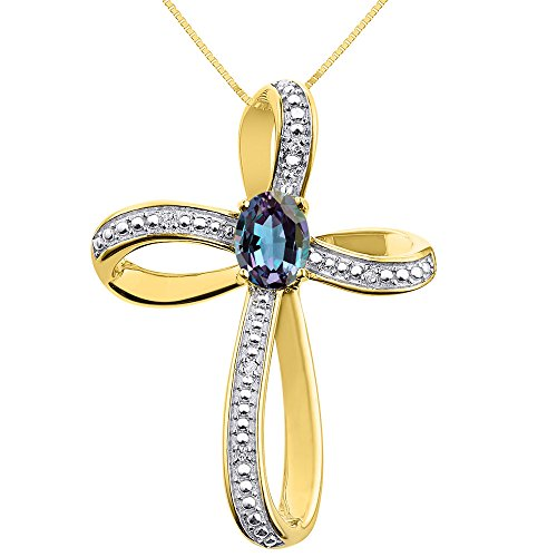 (Diamond & Simulated Alexandrite Cross Pendant Necklace Set In Yellow Gold Plated Silver .925 with 18