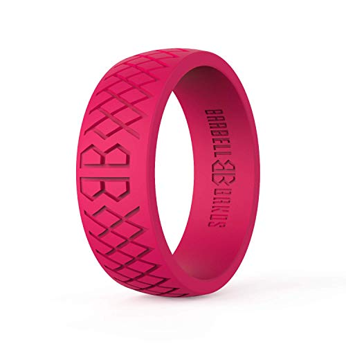 Barbell Bands Silicone Ring for Men | Premium Rubber Wedding Band | Perfect for Tactical Jobs, Weightlifting, Active Lifestyle (Red, 12) ()
