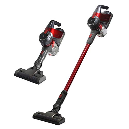SU-VAC Red Cordless Vacuum Cleaner 2-in-1 Stick Vacuums 130W Brush Motor High Power Long Lasting Lightweight Handheld Upright Vacuum with Lithium Battery Rechargeable