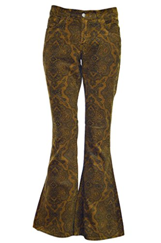 Mens Run & Fly 60s 70s Vintage Tan Paisely Corduroy Retro Bell Bottom Flares - Mens Flare Jeans