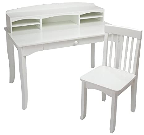 Groovy Kidkraft Avalon Wooden Childrens Desk With Hutch Chair Storage White Ncnpc Chair Design For Home Ncnpcorg