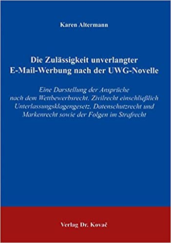 zulssigkeit von emailwerbung german edition