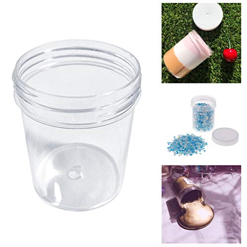 AfazfaContainer for Playdough Slime Clay Makeup Jar Cosmetic Pot Cream Bottle Nail Box (Clear)
