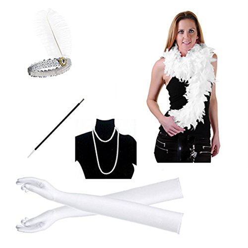 1920s Flapper Girl Dress Headband Accessory Assembly Necklace Gloves Cigarette Holder Scarf 5PCS Gatsby Party (White)