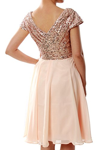 Party MACloth Rose Sequin Gown Short Bridesmaid Wedding Women Dress Sleeve Gold Cap Formal OqwOParx8