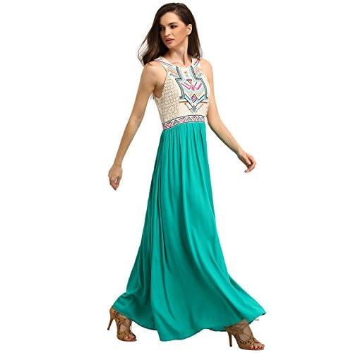 71eca92e81 lovely ROMWE Women s Summer Bohemian Floral Print Full Length Maxi Beach  Dress