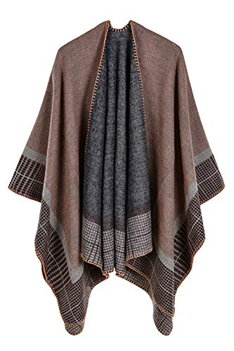 VamJump Women Blanket Oversized Long Cashmere Poncho Cape Shawls Outerwear Khaki