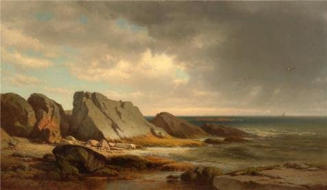 Oil Painting 'William M. Hart,Coastal Scene,1865', 16 x 28 inch / 41 x 70 cm , on High Definition HD canvas prints is for Gifts And Bar, Kids Room And Study Room Decoration, - Satin Covered Card Box