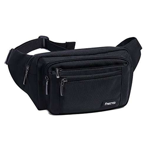 Waist Pack Bag FREETOO Fanny Pack Unisex Hip Bum Bag with Adjustable Band for Outdoors Workout Traveling Casual Running Hiking Cycling Black