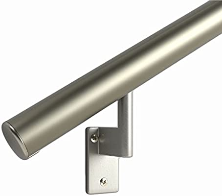 11 ft 1.6 Round OVERALL LENGTH: 137 Handrail Kit Shipped in 2 Pieces with Splice Anodized Aluminum with 5 Matte Nickel Wall Brackets and ADA Returns