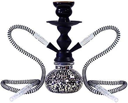 MADGROW Cachimba Fiesta Negra. 25 cm 2 Tubos. Cuerpo metálico. IIncluye SÚPER Pack 10 Pastillas carbón +convertidor a una Manguera + Gomas Recambio +escobilla +sartén carbón +Pinzas con agujereador