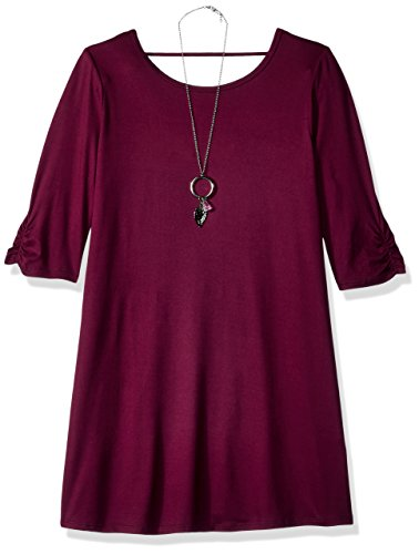 Plum Dresses For Girls (Amy Byer Girls' Big 3/4 Sleeve Swing Dress with Back Detail, Boho Plum,)