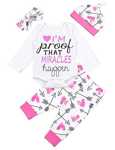 Toddler Baby Girl Clothes Miracles Letters Print Romper Newborn Halloween Long Sleeve Cute Printing Pants Outfits Set (0-3m) for $<!--$12.99-->