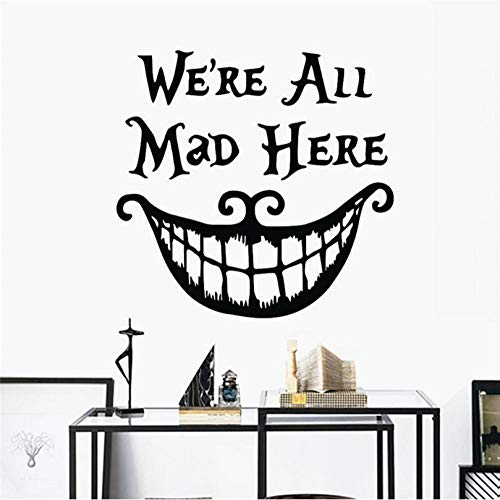 Applique Halloween We are Crazy here Vinyl Stickers Cheshire Cat Decoration Big Mouth Living Room Mural Poster 70 X 50cm