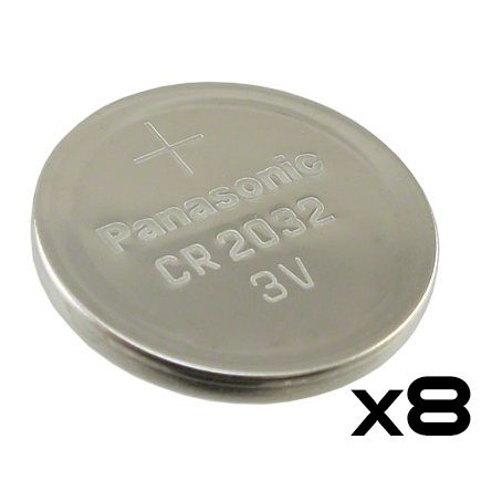 Pack of 8 -- Panasonic Cr2032 3v Lithium Coin Cell Battery Dl2032 Ecr2032 (3 Volt Coin Cell Battery)