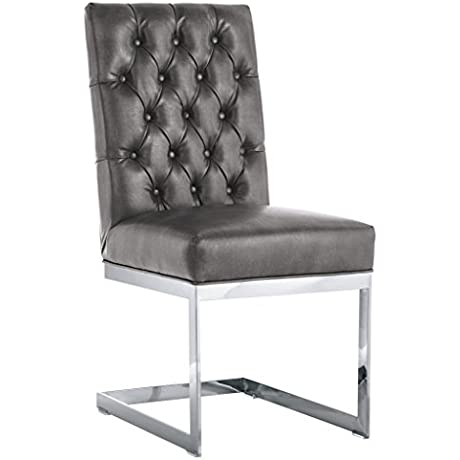 Sunpan Modern Cavalli Leather Dining Chair Set Of 2 Grey