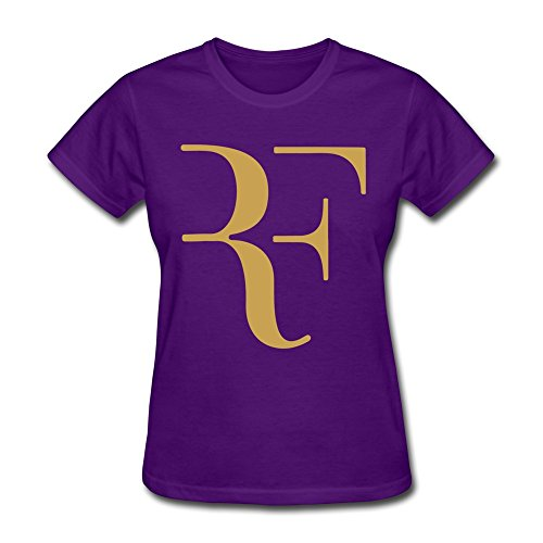 ToWi Women's Roger Federer Logo Short Sleeve T Shirts Purple M