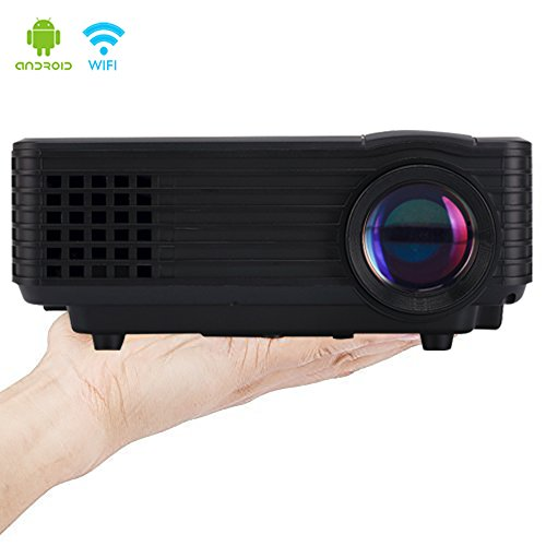 LED Wi-Fi Projector, iRULU 80 Pro Portable Smart Android 4.4 Wireless HD 1080p USB HDMI AV VGA Projector 4GB Storage 800 Lumens For Back Yard Movie Game Party - Black