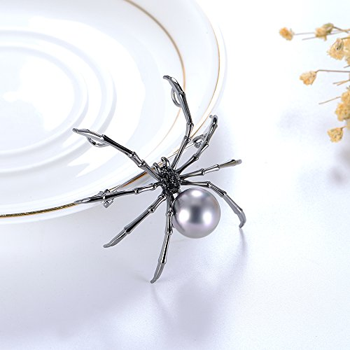 Mytys Spider Pin Brooch Drop Pendant for Women Gun Color Plated by Mytys (Image #1)