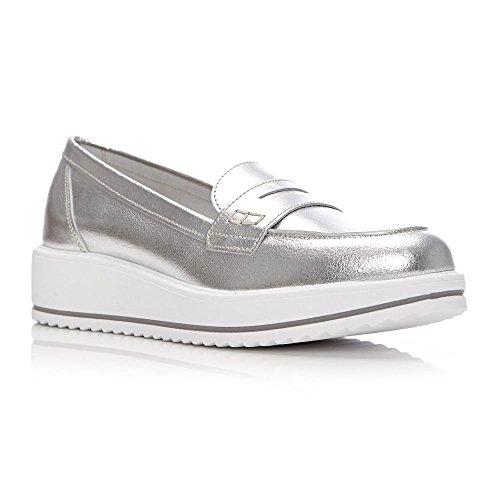 Moda in Pelle Damen Mokassins Silber Silber