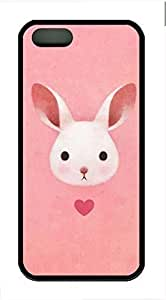 Cute Pink Bunny Cover Case Skin for iPhone 5 5S Soft TPU Black