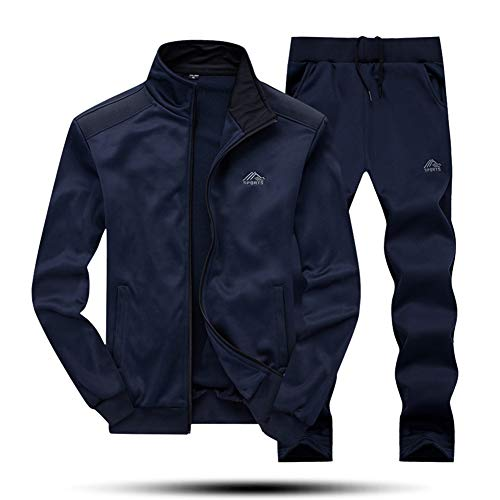 MAGNIVIT Men's Training Tracksuit Sports Warm-up Top Pants Sets 2 Piece Blue ()
