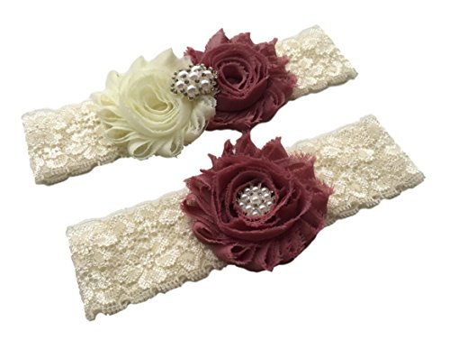 Daddasprincess Wedding Garter Ivory Bridal Lace Plus Size Garter Something Blue (M:18-22 inches, Mauve) ()