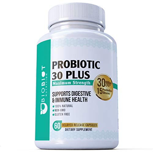 Broad Support Spectrum - Probiotic Plus Maximum Strength - Ultimate Care - Patented Delay Release Capsules - 30 Billion CFUs, 15 Key Strains - Broad Spectrum Support - Best Probiotics Supplement for Women an Men - MADE IN USA