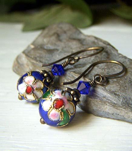 Blue Cloisonne Earrings - Brass Teardrop Short Dangle - Asian Hand Enamel Floral