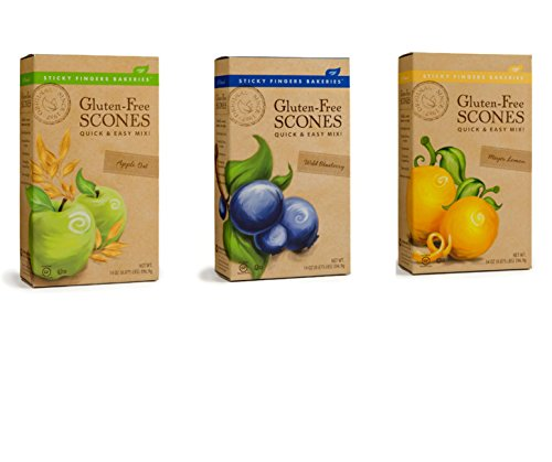 Apple Scone Mix - Sticky Fingers Gluten-Free Scone Mix Bundle with Wild Blueberry, Meyer Lemon and Apple Oat Scone Mix