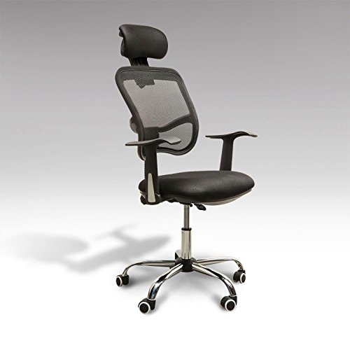 Companion Guest Chair Arm - Adjustable Mesh Task Computer Desk Office Chair High Back with Headrest Swivel Black #507