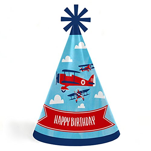 (Taking Flight - Airplane - Cone Happy Birthday Party Hats for Kids and Adults - Set of 8 (Standard)