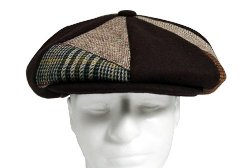Patch Combo Melton Wool Applejack Newsboy Cap Made in USA Various Colors (BrownPatch)