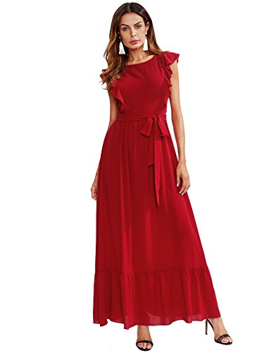Frill Sleeve Dress - Milumia Women's Elegant Belted Frill Shoulder and Hem Self Knot Butterfly Sleeve Maxi Dress Medium Red