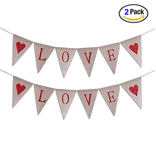LOVE Letters and Hearts Mother's Day Bunting Banners Rustic Jute Burlap Pennant Flags Vintage Wedding Garland