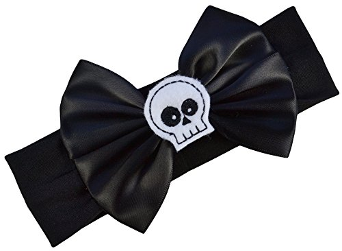 Satin Bow and Felt Skull Baby Headband From Funny Girl Designs - Fits Newborn to 12 Months (Black Bow with White Skull) -