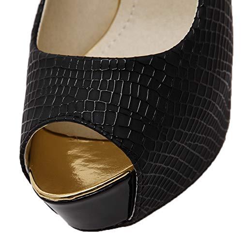 Sandales Ouverture Noir Pu Agoolar Unie Stylet Gmblb013241 Tire D'orteil Couleur Femme Cuir BwBzqAS