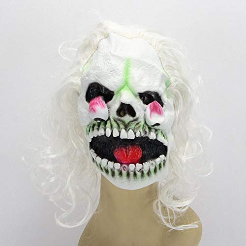(Rwdacfs Halloween mask,Halloween Costume Prom Night Party Wig Color Devil Latex mask)