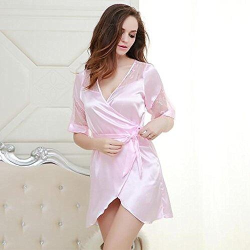 HXQ Albornoz para mujer Vestido de seda de encaje Pijamas Satén vestido corto cómodo vestido de vestir suelto , black Pink