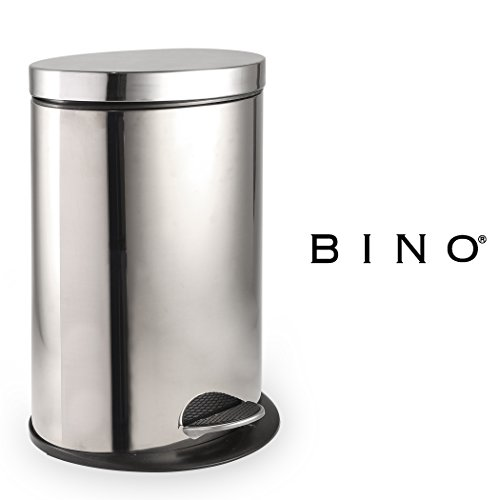 Large Garbage Pail (BINO Stainless Steel 3 Gallon / 12 Liter Oval Step Trash Can, Polished Chrome)