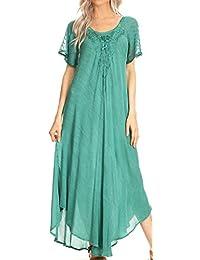 Sakkas Helena Embroidered Nightgown/Women Sleepwear with Eyelet Sleeves
