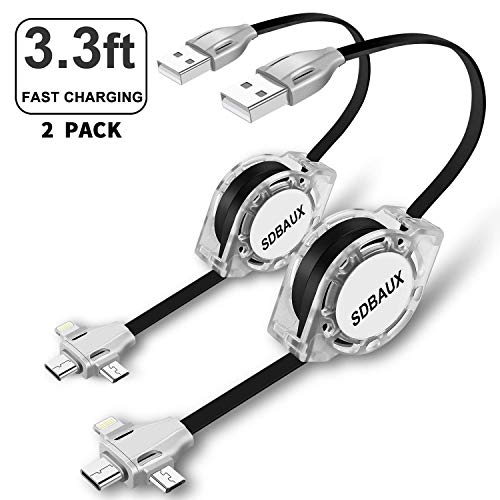 SIQIWO Multi 3 in 1 USB Retractable Charger Cable 2Pack 3.3ft,Fast Charging Syncing Cord Adapter with Eight Pin Type C Micro USB Port Compatible with Cell Phones Tablets Universal Use(Black)
