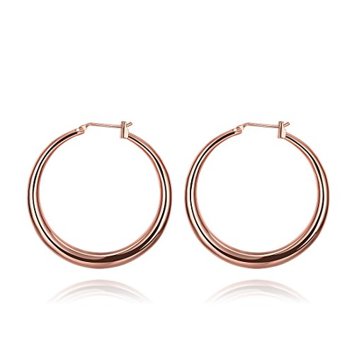 Fashion Women 18k Rose Gold Plate Smooth Hoop - Plate 18k Gold