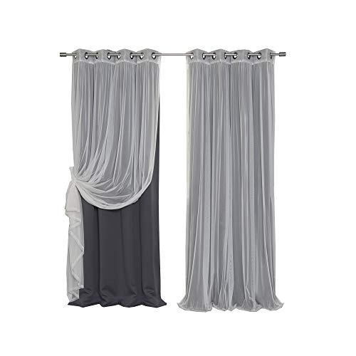 Best Home Fashion Mix & Match Tulle Sheer Lace & Blackout Curtain Set - Antique Bronze Grommet Top - Dark Grey - 52
